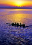 Pulling Together, Admiralty Inlet, Rowing, Boat, Sunrise, Whidbey Island, Teamwork, Silhouette, Purple, Water